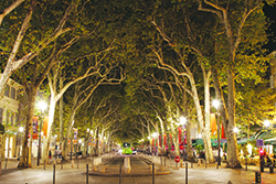 Cours Mirabeau, a famous tree-lined boulevard with cafés, quaint shops and beautiful fountains that has been dubbed by some as Europe's most enchanting boulevard. Wikipedia