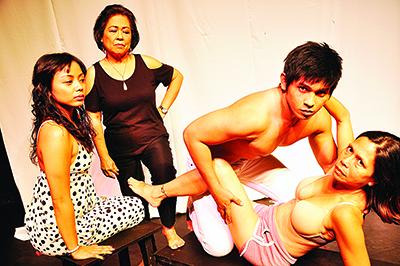 "(From left) Actors Martha Comia, Peewee O'Hara, Orlando Sol and Mailes Kanapi in Herlyn Alegre's ""Huling Huli."""