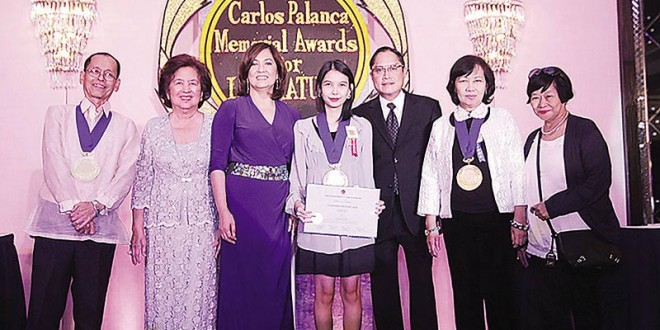 (From left) Jun Cruz Reyes, chairman of the board of judges for the Novel in Filipino category; Sylvia Palanca-Quirino, director general of the Carlos Palanca Memorial Awards; Criselda Cecilio-Palanca; Charmaine Lasar, grand-prize winner in the Novel in Filipino category; Carl Anthony S. Palanca, vice president of the Carlos Palanca Foundation Inc.; Susan S. Lara, chairwoman of the board of judges for the Novel in English category; and Ligaya Tiamson Rubin, a judge for the Novel in Filipino category, pose for a photo during the 65th Carlos Palanca Memorial Awards for Literature awarding ceremony at The Peninsula Manila hotel on September 1.