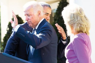 United States President Barack Obama hugs Vice President Joe Biden as Biden waves at the end of his announcement in the Rose Garden of the White House that he will not run for the Democratic presidential nomination. Jill Biden is at right. AP