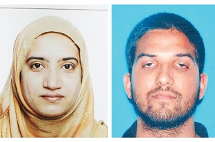 This undated combination of photos provided by the FBI and the California Department of Motor Vehicles shows Tashfeen Malik (left) and Syed Farook. The husband and wife died in a fierce gunbattle with authorities several hours after their commando-style assault on a gathering of Farook's colleagues from San Bernardino, California, County's health department on December 2. AP
