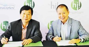 Hospitality Innovators Inc. founder and CEO Luis Monserrat (left) and Primex Realty Corp. Chairman and President Ernesto Ang sign an agreement for the former's company to manage The Sphere Serviced Residences.