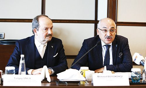 Turkish Flour, Yeast and Ingredients Promotions Group (TFYI) President Turgay Ünlü (left) and Turkish Exporters Assembly President Mehmet Büyükeksi speak to the media during a press conference at Istanbul's Grand Tarabya Hotel last month. ALVIN I. DACANAY