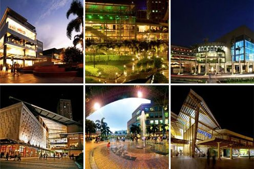 This screenshot of Ayala malls shows (clockwise, from top left) Bonifacio High Street in Bonifacio Global City, Taguig City; Ayala Center Cebu in Cebu City, Cebu province; TriNoma in Quezon City; Marquee Mall in Angeles City, Pampanga province; Market! Market! in Taguig; and Greenbelt in Makati City. AYALA MALLS FACEBOOK PAGE