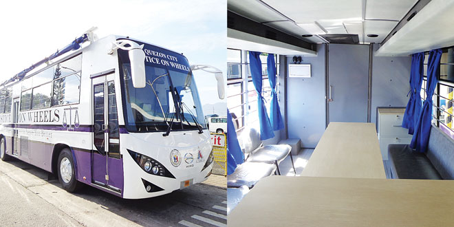 One of Hino Motors Philippines Corp.'s (HMP) bus-customization projects include mobile courts for the Supreme Court and local government units (LGUs), like the one in the photo, which shows its exterior (Left) and interior.