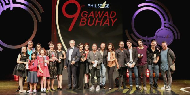 """Some of the 9th Philstage Gawad Buhay winners pose for photos at the end of the awards ceremony at the Cultural Center of the Philippines' Tanghalang Aurelio Tolentino (Little Theater) on May 10: Rody Vera and Mixkaela Villalon, two members of the """"Annie"""" cast, Krystal Brimmer, Joy Virata, Cris Villonco, Michael Williams, Angela Padilla, Red Turnip Theater co-founder Jen-ny Jamora, """"Constellations"""" director Rem Zamora, Ariel Reonal, Menchu-Lauchengco Yulo, Myke Salomon, Topper Fabregas, Jef Flores, PJ Rebullida, and John Batalla. (Photo: Alvin I. Dacanay)"""