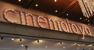 """The """"Cinemalaya"""" sign is displayed at the lobby of the Cultural Center of the Philippines' Tanghalang Nicanor Abelardo (Main Theater) in August 2016. ALVIN I. DACANAY"""