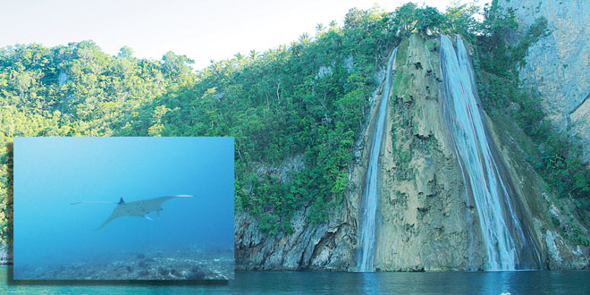 Catandayagan Falls in Ticao island, Masbate province. (Inset) A manta ray swims in the waters of Ticao. (Photos: Department of Tourism in Region 5 [Bicol]; Alex Duval)