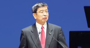 ADB President Takehiko Nakao while delivering a speech 50th Annual Meeting in Yokohama, Japan.