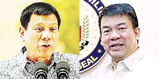"President Duterte (left) and Senate President Aquilino ""Koko"" Pimentel III."