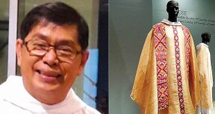 "(Left) Dom Martin Hizon Gomez, OSB. (Right) Indigenized liturgical robes on display at the ""Vestments for Worship: Wrapped in Identity"" exhibit at the Ayala Museum in Makati City. (Photos: Dom Martin Hizon Gomez OSB's Facebook account; PNA)"