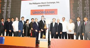 UnionBank of the Philippines, Inc. commemorated its 25th listing anniversary through a bell ringing ceremony at the Philippine Stock Exchange (PSE). At the listing anniversary rites are (from left) UnionBank SVP, Corporate Secretary and General Counsel Atty. Joselito Banaag; UnionBank EVP, Center Head, Channel Management Center Dennis L. Matutina; UnionBank EVP, Center Head, Center for Strategic Partnerships Genaro V. Lapez; UnionBank Director Manuel L. Lozano; UnionBank Directors Dr. Francisco S. A. Sandejas and Nina Aguas; UnionBank SVP, Chief Technology and Operations Officer & Chief Transformation Officer Henry R. Aguda; UnionBank President and Chief Operating Officer Edwin R. Bautista; UnionBank Chairman and CEO Dr. Justo A. Ortiz; PSE President and CEO Ramon S. Monzon; UnionBank Directors Stephen Paradies, Sabin M. Aboitiz and Emmanuel Dooc; PSE Chief Operating Officer Roel A. Refran and PSE Director Alejandro T. Yu.