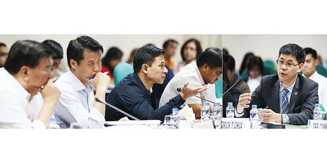 """Senator Juan Edgardo Angara (left photo), chair of the committee on ways and means, stresses a point on the """"Tax Reform For Acceleration And Inclusion"""" focused on Amending the Estate Tax and Donor's Tax and the Imposition of eight percent gross receipts tax on self-employed and professionals during the Senate public hearing last July 6. With him are Minority Leader Franklin Drilon (left) and Senator Sherwin Gatchalian. At right is Finance Undersecretary Dr. Karl Kendrick Chua. PNA"""