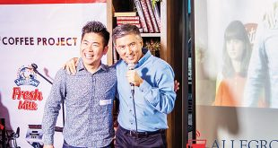 World Barista Champion 2014 Hidenori Izaki (left) and Allegro Beverage Corp. President Leo de Leon during the recent Latte Art Throwdown at the Coffee Project in Pasay City.