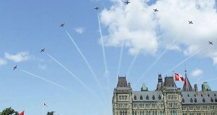 """""""Snowbirds"""" fly over Parliament House in Ottawa, Ontario, the nation's capital on Canada Day."""