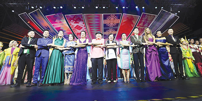 Foreign Affairs Assistant Secretary Helen dela Vega (sixth from right) and National Commission for Culture and Arts Chairperson Virgilio Almario lead the Asean lighting ceremonies at the CCP Complex in Pasay City during the recent celebration of the 50th-year celebration of the Association of Southeast Asian Nations (Asean). PNA