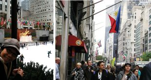 (Left) The author at the Rockefeller Center in New York City. (Right) Rockefeller Center.