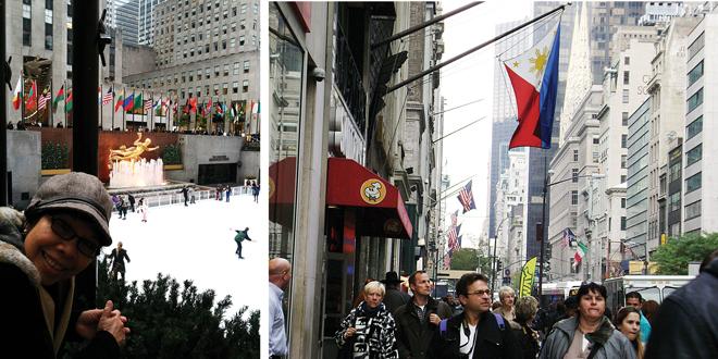 (Left) The author at the Rockefeller Center in New York City. (Right) Rockefeller Center.