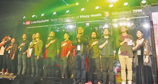 "Noel Cabangon (fifth from right) leads members of the bands Franco and Urbandub, Jensen Gomez, Curtismith, Reese Lansangan and other artists in singing the Philippine National Anthem in the ""Coke Studio PH"" truck during the launch of Coke Studio PH at the SMX Convention Center in Pasay City on July 29, 2017."