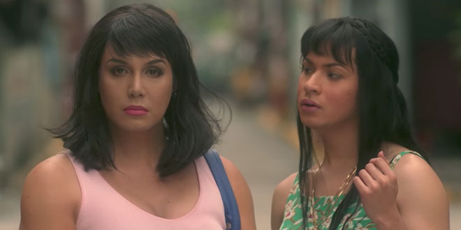 """This screengrab from the trailer posted on Regal Entertainment's YouTube account shows Trisha (Paolo Ballesteros) (left) channeling Jaclyn Jose as Barbs (Christian Bables) looks on in a scene from """"Die Beautiful."""""""