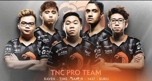 "(From left) Marc ""Raven"" Fausto, Timothy ""Tims"" Randrup, Samson ""Sam_H"" Hidalgo, Theeban ""1437"" Siva, and Carlo ""kuku"" Palad. (TNC Pro TWITTER)"