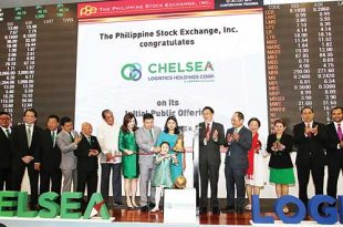 Davao-based Chelsea Logistics Holdings Corp. (CLC) recently conducted an initial public offering (IPO) to fund the company's expansion strategy. At the ceremony are (from left) CLC Independent Director Jesus Guevara II; CLC Independent Director Gener Mendoza; CLC Director Arthur Kenneth Sy; CLC Director Efren Uy; CLC Director Eduardo Bangayan; CLC President and CEO Chryss Alfonsus Damuy; Phoenix Petroleum Philippines Inc. Chairman Domingo Uy; Transportation Secretary Arthur Tugade; CLC Director and Treasurer Cherylyn Uy; CLC Chairman Dennis Uy; Charlize Donatela Uy; Chelsea Denise Uy; PSE Chairman Jose Pardo; PSE President and CEO Ramon Monzon; PSE Directors Ma. Vivian Yuchengco, Amor Iliscupidez and Francis Chua; PSE Chief Operating Officer Roel A. Refran and PSE Director Alejandro T. Yu.