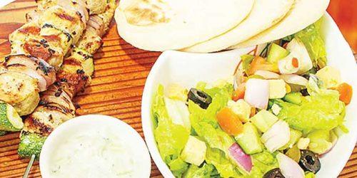 Souvlaki Pork Tenderloin with Vegetables.