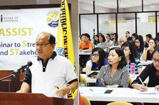 Left photo shows IAS Director Domingo I. Bagaporo delivering his opening remarks at the BOI ASSIST seminar. Right photo shows some of the BOI-registered firms who were capacitated on the latest government investment policies, regulations, and procedures.