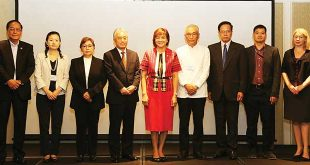 From left are DTI Export Marketing Director Senen Perlada, Dr. Chie Iguchi from Keio University, Executive Director Penny S. Bongato of IBPAP, AJC Secretary General Masataka Fujita, DTI Undersecretary Nora Terrado, Investment and EPA Advisor of JETRO Shozo Suzuki, Ramon Clarete of the University of the Philippines School of Economics, Francis Mark Quimba of the Philippine Institute of Development Studies and First Secretary Jenni McEwin of the Australian Embassy in the Philippines.